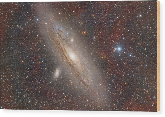 Andromeda With Hydrogen Clouds Wood Print