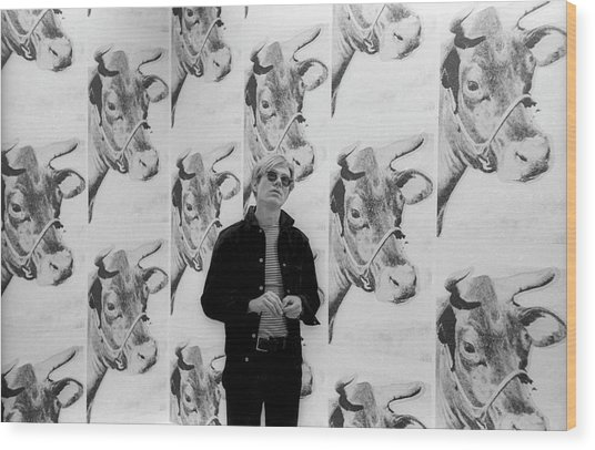 Andy Warhol And Cows Wood Print