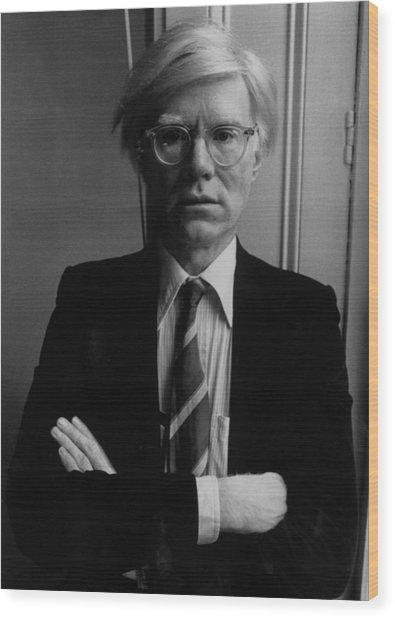 Andy Warhol Wood Print by John Minihan