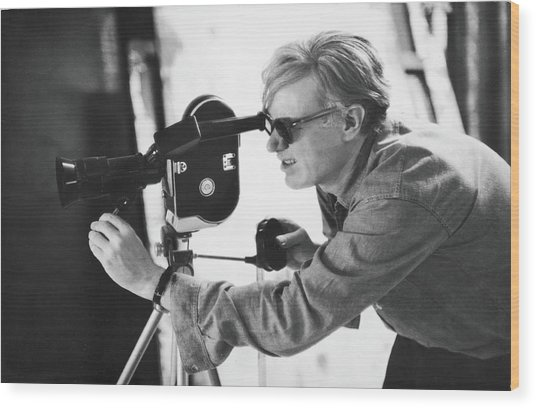 Andy Warhol Lines Up A Shot Wood Print by Fred W. Mcdarrah