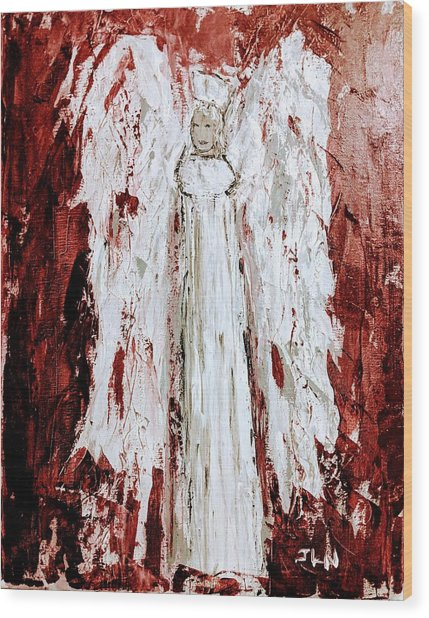 Angel Against Violence Wood Print