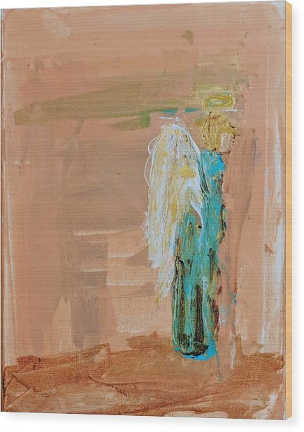 Angel Boy In Time Out  Wood Print