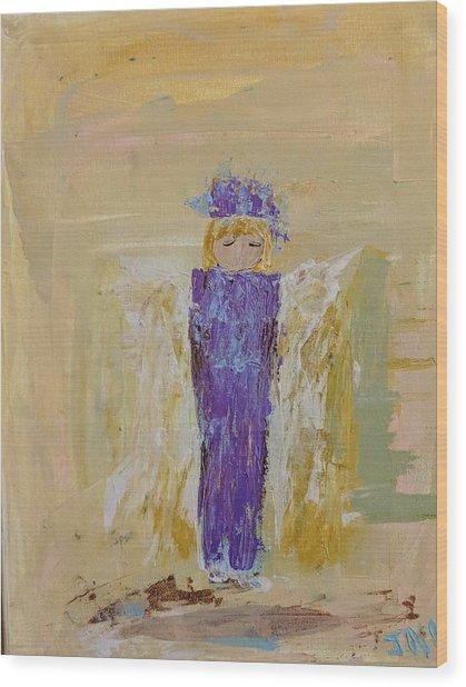 Angel Girl With A Unicorn Wood Print