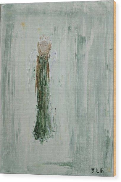 Angel In Green Wood Print