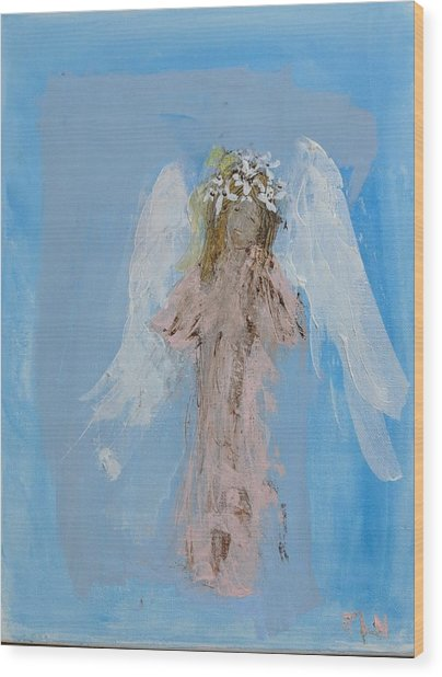 Angel With A Crown Of Daisies Wood Print
