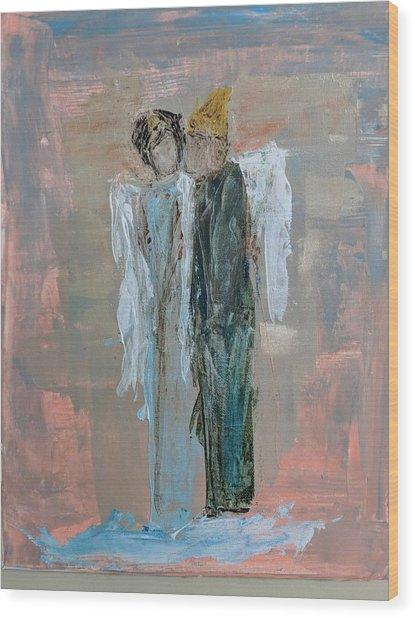 Angels In Love Wood Print