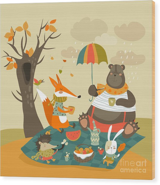 Animals At Picnic In Autumnal Forest Wood Print