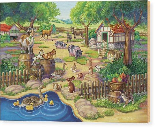 Animals At The Petting Zoo Wood Print