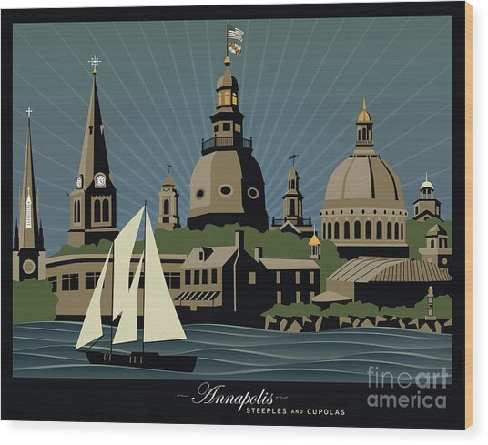 Annapolis Steeples And Cupolas Serenity With Border Wood Print