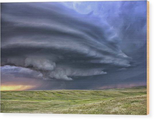 Anticyclonic Supercell Thunderstorm Wood Print by Jason Persoff Stormdoctor