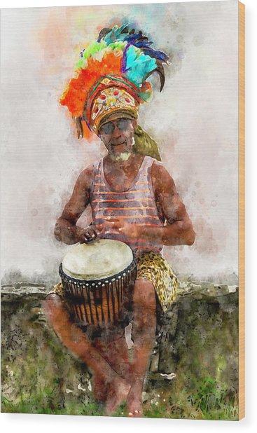 Antiguan Drummer Wood Print