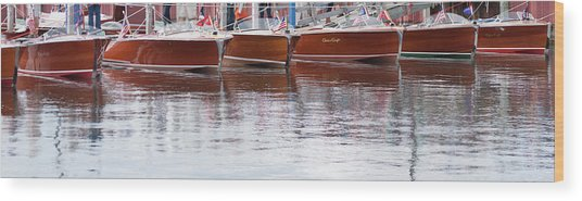 Antique Classic Wooden Boats In A Row Panorama 81112p Wood Print