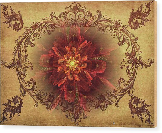 Antique Foral Filigree In Crimson And Gold Wood Print
