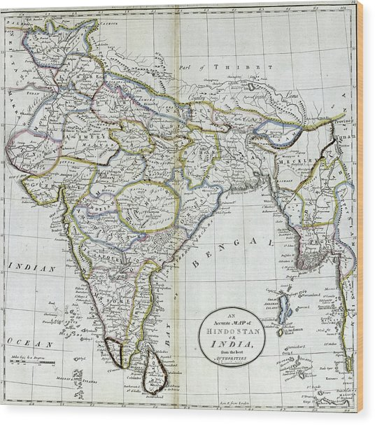 Antique Map Of India   Wood Print