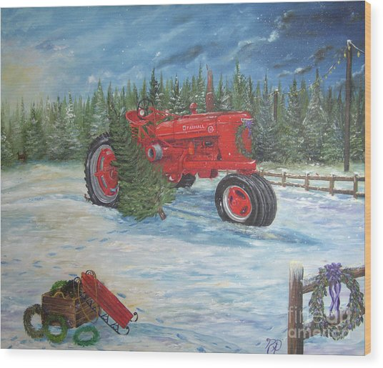 Antique Tractor At The Christmas Tree Farm Wood Print