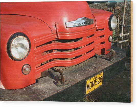 Antique Truck Red Cuba 11300502 Wood Print