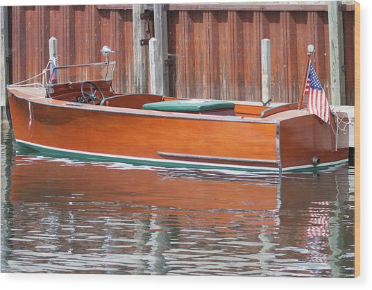 Antique Wooden Boat By Dock 1302 Wood Print