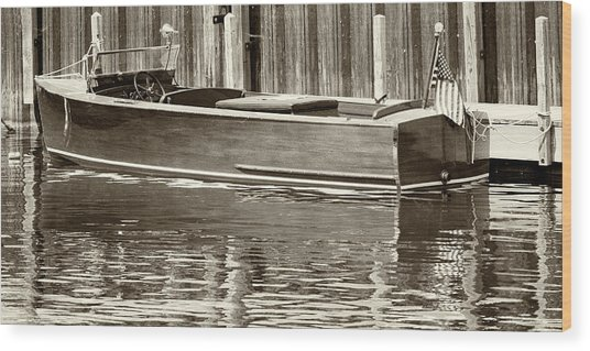 Antique Wooden Boat By Dock Sepia Tone 1302tn Wood Print