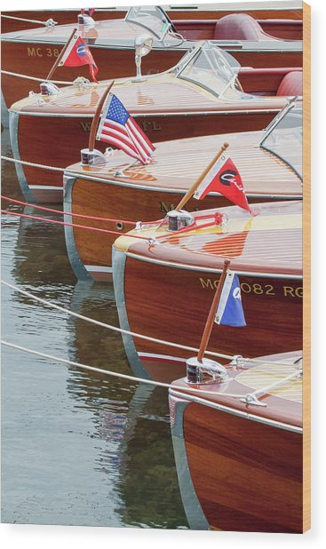 Antique Wooden Boats In A Row Portrait 1301 Wood Print