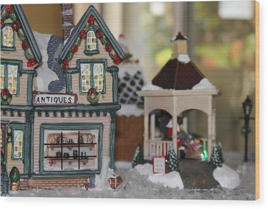 Antiques In Christmas Town Wood Print