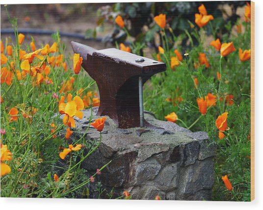 Anvil In The Poppies Wood Print