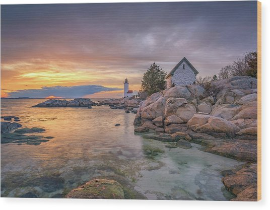 April Sunset At Annisquam Harbor Lighthouse Wood Print