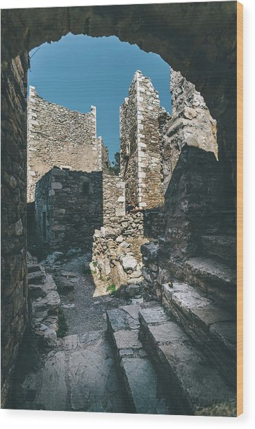 Architecture Of Old Vathia Settlement Wood Print