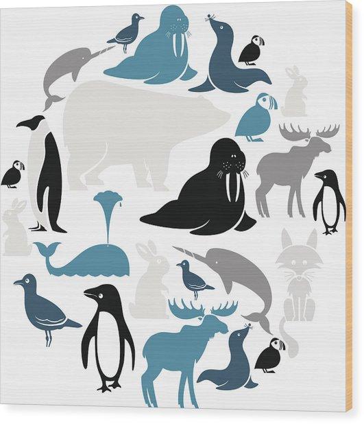 Arctic Animals Icon Set Wood Print by Theresatibbetts