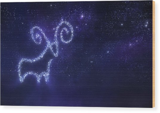 Aries Zodiac Sign Wood Print by Da-kuk