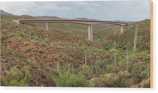 Wood Print featuring the photograph Arizona Highway Bridge Panoramic View by James BO Insogna