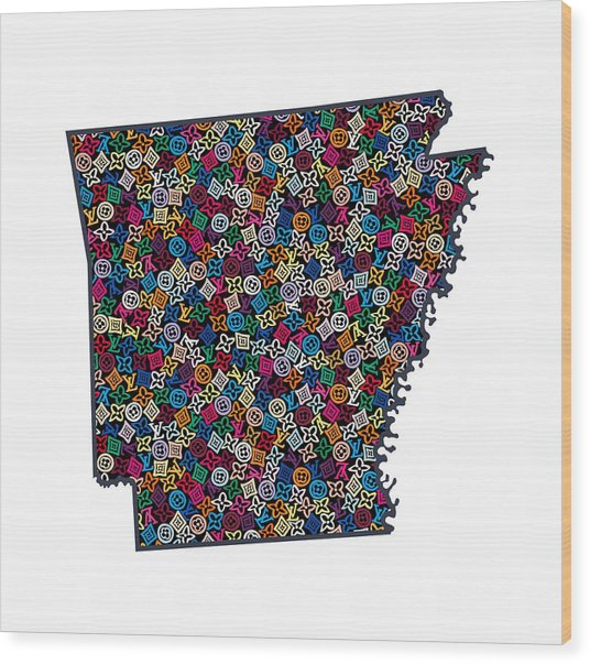 Arkansas Map - 3 Wood Print