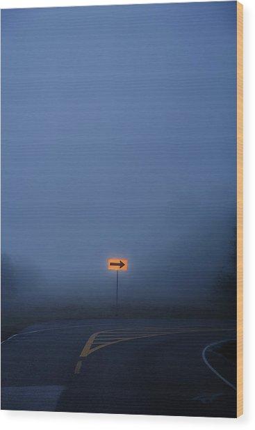 Arrow In Fog Wood Print