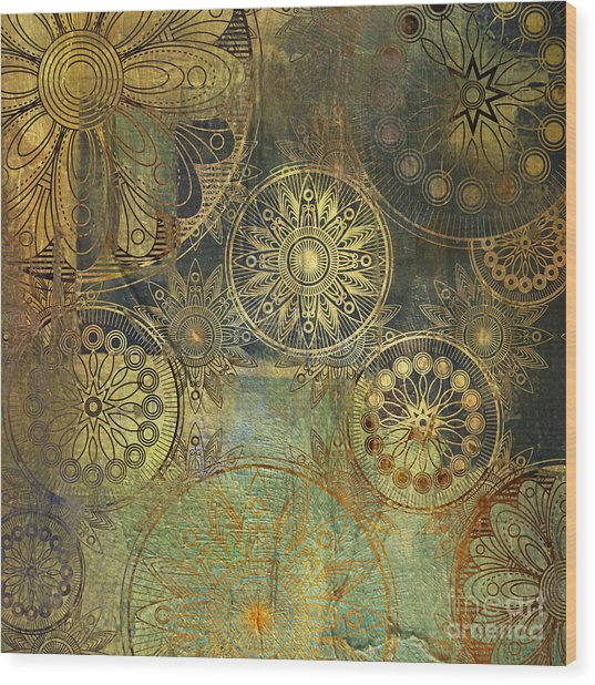 Art Grunge Stylized Damask Floral Wood Print