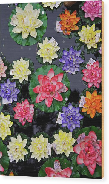 Artificial Flowers Floating On Fish Wood Print