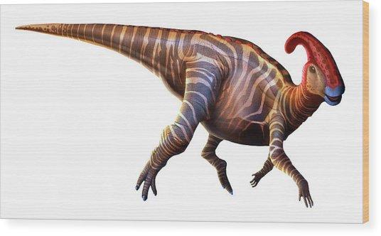 Artwork Of A Parasaurolophus Dinosaur Wood Print by Mark Garlick
