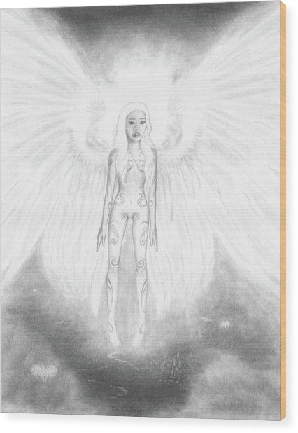 As An Angel She Realized Why - Artwork Wood Print