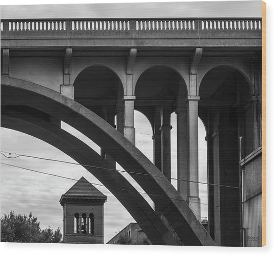 Wood Print featuring the photograph Ashton Viaduct I Bw by David Gordon