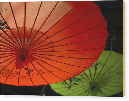 Asian Parasols Wood Print by Imagesbytrista