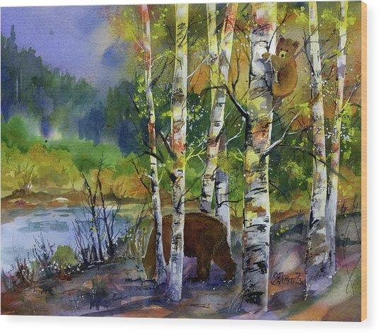 Aspen Bears #2 Wood Print