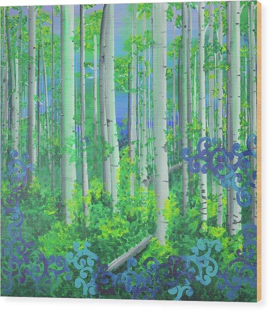 Aspens In July Wood Print