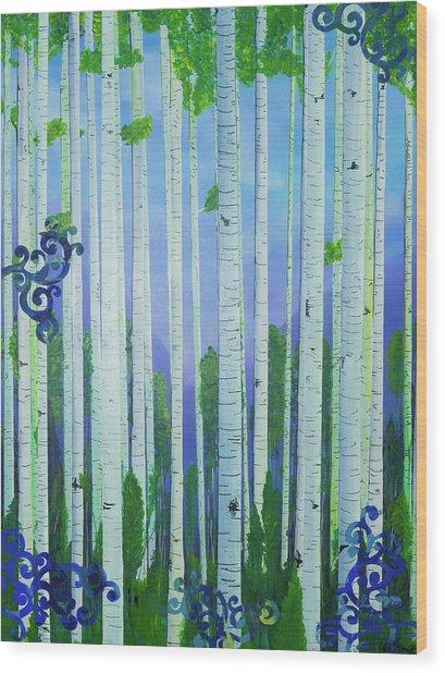 Aspens In Summer Wood Print