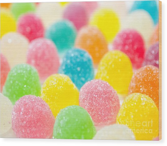 Assortment Of Colorful Fruit Jelly Candy Wood Print