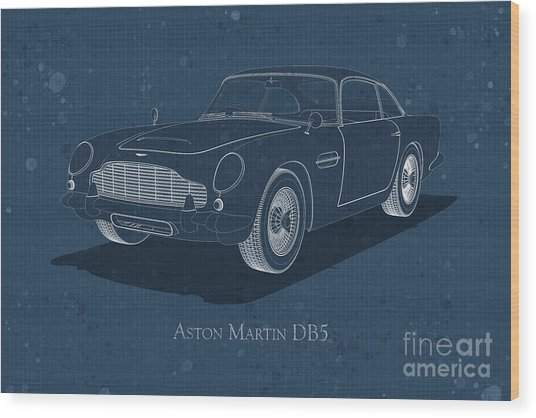Aston Martin Db5 - Front View - Stained Blueprint Wood Print