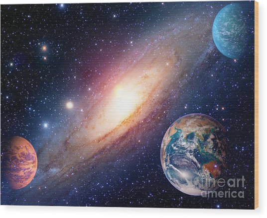 Astrology Astronomy Earth Outer Space Wood Print