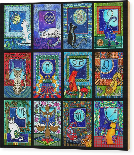 Astrology Cat Zodiacs Wood Print