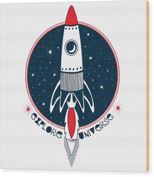 Astronaut Rocket In Outer Space , Kid Wood Print