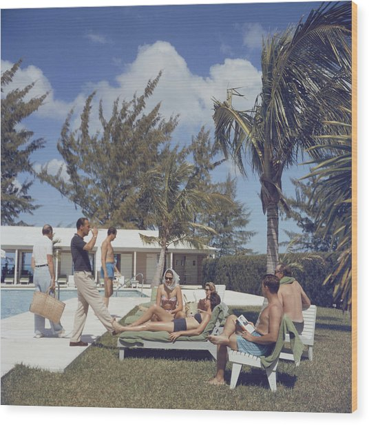 At Lyford Cay Wood Print by Slim Aarons