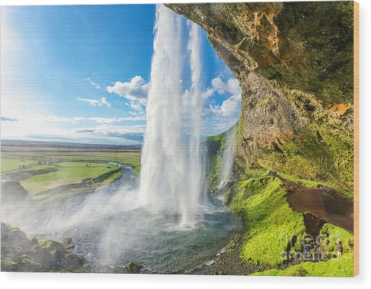 At The Back Of Seljalandsfoss In Iceland Wood Print