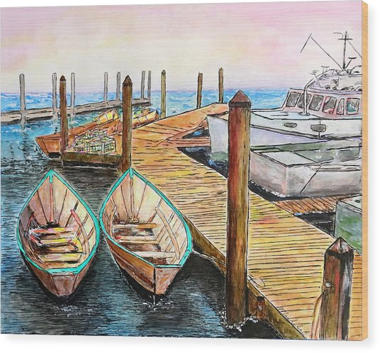At The Dock In Gloucester Massachusetts Wood Print