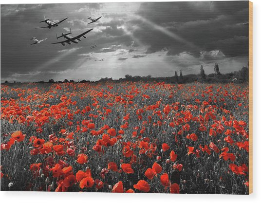Wood Print featuring the photograph At The Going Down Of The Sun Selective Red Version by Gary Eason